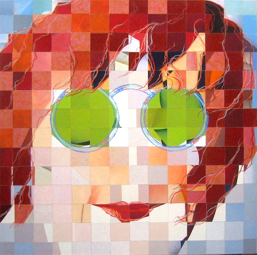 "GIRL WITH GREEN GLASSES 54""X54"" canvas painting"
